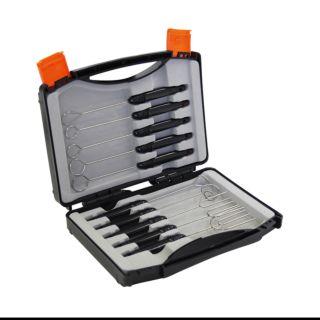 Dipping Fork, Set, Stainless Steel, Black Handle, 10 Forks