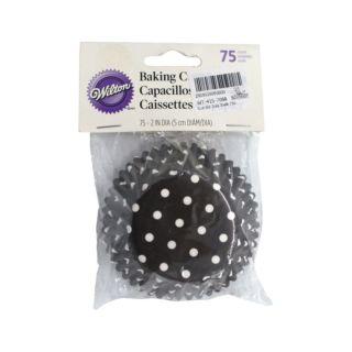 Cupcakes Liners, Black Polka Dots, Red Lining, 75 pcs